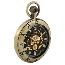$enCountryForm.capitalKeyWord Australia - Bronze Silver Black Engraved Roman Numerals Design Mechanical Hand-Winding Pocket Watch Vintage Fashioned Fob Pocket Chain