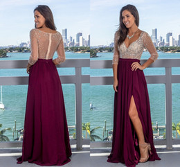long sleeve red taffeta dress jacket Canada - Dark Purple Red Beaded Crystal Prom Formal Dresses with 3 4 Long Sleeve Silt Chiffon Skirt Beach Party Evening Pageant Gown