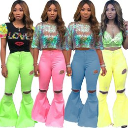 Rip leggings online shopping - Women denim Flared long pants Bell Bottom jeans trousers sexy hole ripped full length leggings bodycon streetwear stylish Clothing plus size