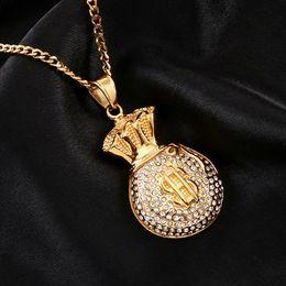 $enCountryForm.capitalKeyWord Australia - New Fashion Hip Hop Bling Diamond US Dollar Money Bag Pendant Mens Necklace Gold Pleated Stainless Steel Rhinestone Rapper Jewelry for Sale