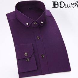 work dress shirts Australia - Purple Men Shirt 100% Cotton Long Sleeved Shirt Slim Fit Male Social Business Dress Work Men Business Shirts Formal 4XL