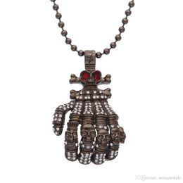 Bone Rhinestone Pendant Australia - Exaggerated Hip Hop Jewelry, Auniquestyle Men Gun Black Hand Bone Design Alloy Pendant Inlaid Rhinestone Skull Male Necklace