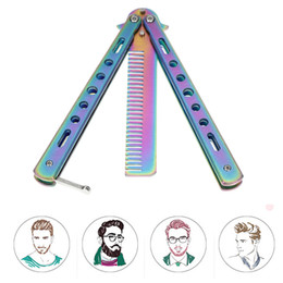 wholesale butterfly knives Australia - Foldable Comb Stainless Steel Practice Training Butterfly Knife Comb Beard & Moustache Brushes Hairdressing Styling Tool