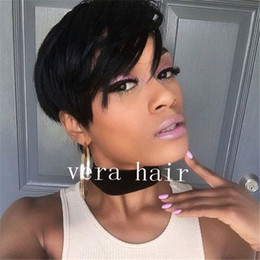 $enCountryForm.capitalKeyWord UK - Human Hair Short Natural Wavy Wigs Short Human Hair Pixie Cut Layered Bob Wigs for Black Women