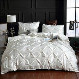 White  100% Super Soft Washed Silk Duvet Cover Set 3Pcs/Set Pinch Pleat Brief Bedding Sets Queen King Size на Распродаже