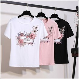 3d Flower Tee Australia - Women 2019 Summer Short Sleeve Embroidery Appliques Beaded 3D Flowers Sequins Stylish Tops+Tees Female T Shirts Mujer