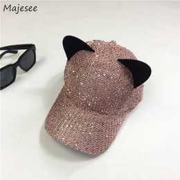 bling hip hop caps 2019 - Baseball Caps Women Bling Cat Ears Adjustable Streetwear Womens Snapback Hip Hop Cap High Quality Korean Style Summer Tr