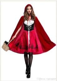 free size lolita dresses UK - Halloween Costumes Women Clothes Little Red Riding Hood Cosplay Red Dresses Hooded Cape 1 Set Free Shipping