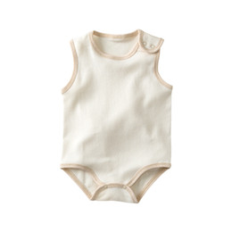 $enCountryForm.capitalKeyWord NZ - Baby Boy Girl Organic Cotton Bodysuit Soft Comfortable Clothes for Newborn Baby Sleeveless Romper Pure Colored Cotton Clothing High-Quality