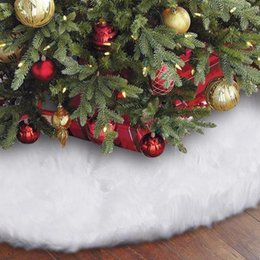 holiday party skirts Canada - 60 78 90 122CM Faux Fur Christmas Tree Skirt Large Plush Snowy White Xmas Tree Skirt Christmas Holiday Party Decorations
