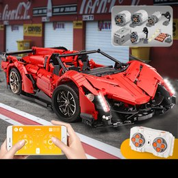 building remote control cars Australia - YX Lamborghini Veneno RC Car Building Block Toy, DIY APP Control, Programmable, Electric Door Opening,LED, for Kid' Birthday' Christmas Gift