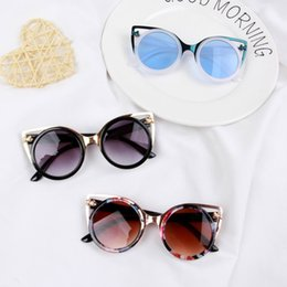 kids fashion sunglasses wholesale Australia - vintage cat eye kid sunglasses Fashion Brand Child Sun Glasses girl blue brown Anti-uv Baby Sun-shading Girl Boy Sunglass oculos de sol