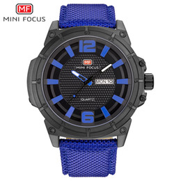 mens sports watches nylon strap NZ - MINIFOCUS Brand Fashion Mens Wristwatch Quartz Watches Luxury Sport Watch Men Waterproof Black Nylon Strap Relogio Masculino MF0136G