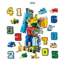 Number Blocks Australia - GUDI Robot Bricks 10 in 1 Creative Assembling Educational Action Figures Transformer Number Building Block Model Kids Toys gift Y190530