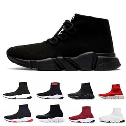 Gold toe brands online shopping - New lace up Luxury Designer casual sock Shoes lace up Speed Trainer Brand Red Triple Black Brand Fashion Socks Trainer sports Sneakers