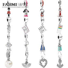 silver house pendant Australia - FAHMI 100% 925 Sterling Silver Pearl Flutter Fan Light House DOLL Toy Soldier Dropper Ticket Passport Ship Pendant Charm Free Shipping