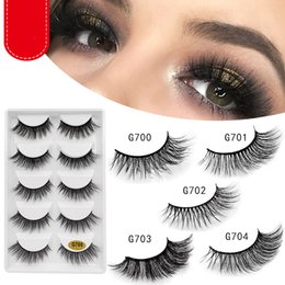 mink false eyelashes wholesale Australia - 5 Pairs Mink Eyelashes Natural 3d Mink Lashes Beauty Essentials 3d False Lashes False Eyelashes Full Strip Lashes Gift box G700 series