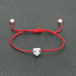 semi precious stone crystals Australia - Lucky Silver Color Crystal Zircon Balls Women Red Thread Rope String Bracelets For Couples Lovers Semi-precious stones Bijoux