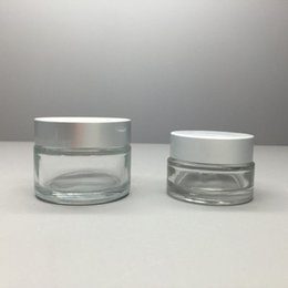 $enCountryForm.capitalKeyWord Australia - Free ship 10 15 20 30 50g clear transparent glass cosmetic jar with shinny silver lid, Cylinder wide mouth cream lotion jar container