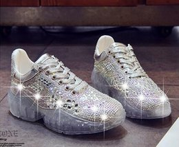 Wholesale 2019 new ins rhinestone old slut casual shoes crystal shoe transparent bottom sport flat shoes lightweight non slip increased casual shoes