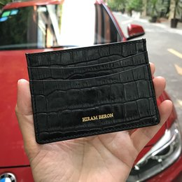 $enCountryForm.capitalKeyWord Australia - Hiram Beron Genuine Leather Card Holder Men Cow Leather With Crocodile Pattern Wallet Free Custom Name Id Credit Card Wallet T190708