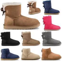 Newest fashioN boots online shopping - Newest Luxury Designer Australia women winter snow boots classic ankle kneel shoes short bow fur boot black Chestnut fashion size