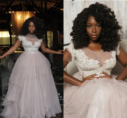$enCountryForm.capitalKeyWord Canada - African Style White And Blush Wedding Dresses 2019 Sheer Neck Lace Cap Sleeve Bridal Gowns Tulle Plus Size Puffy Skirt Wedding