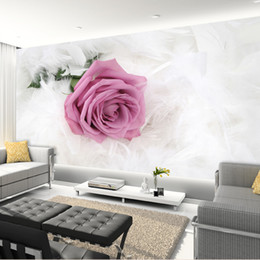 Discount country wedding backdrops - Romantic Pink Rose Flower Photo Mural Customized Size Non-woven 3D Wallpaper For Wedding Living Room Sofa Backdrop Wall