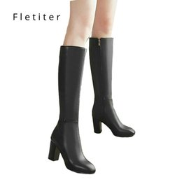 Comfortable Knee High Boots Australia - Women's Fashion Boots Knee High Slim Solid Color Riding Boots Women Elegant Side Zip Comfortable Boots Plus Size Shoes
