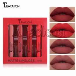 Wholesale tattooed lip online – design Lip Makeup Matte Liquid Lipstick Waterproof Red Lipgloss Makeup Tattoo Long Lasting set Lip Tint Lip Gloss