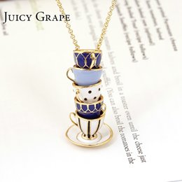 Jewelry Enamel Painting Australia - Juicy Grape Hand Painted Enamel Necklace Jewelry Teacup Pendant Long Chain Choker Necklace Bijoux Femme Bijuteria Women J190620