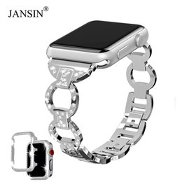 Apple Needle Australia - Jansin Diamond Bands For Apple Watch Series 4 3 2 Bracelet Women Link Stainless Steel Strap For Iwatch Band 42mm 38mm 40mm 44mm T190620