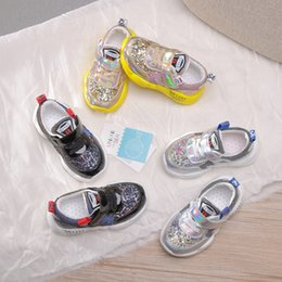 Shining Patent Leather Shoes Australia - Kids sneakers shining boys colorful sequins non-slip running shoes children breathable backetball shoes fashion boys shoes F7320