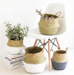 Cestini di bambù fatti a mano pieghevole lavanderia paglia patchwork vimini rattan seagrass pancia giardino vaso di fiori fioriera cestino MMA1281