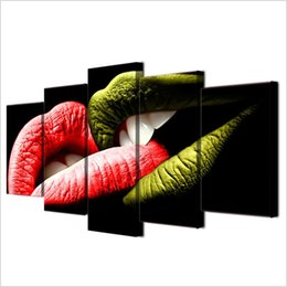 $enCountryForm.capitalKeyWord Australia - Happy Kiss Day,5 Pieces Home Decor HD Printed Modern Art Painting on Canvas (Unframed Framed)