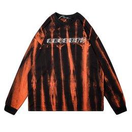 Wholesale black shirt loose skull online – design Original Tie Dye Skull Print Long Sleeve T Shirt Men and Women Crewneck Oversize T shirt Loose Casual Summer Tshirts