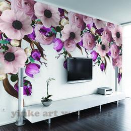 Modern roses wall Murals online shopping - Custom Wall Mural Wallpaper American Style Hand Painted rose flowers vine modern Pastoral Wall Painting Wallpaper D