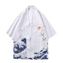 $enCountryForm.capitalKeyWord UK - Vintage Kimono Summer Wear New Men's White japanese Half Sleeve Printed Flower Shirt Men's Camisa Loose Japan Style Casual Shirt