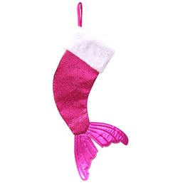 Fishing christmas ornament online shopping - Creative Christmas Stocking Kit Multi Usage Fish Tail Gift Bag Fashion Style Christmas Tree Pendant Xmas Sequins Stocking Rose R