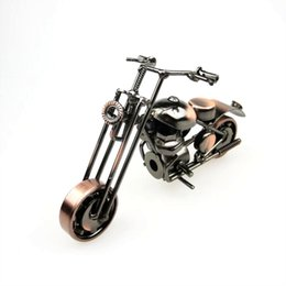 Wholesale Classical D Handmade Motor Model Scrambling Motorcycle Decoration Simulation Motorbike Ornament Machine Toy Plate Copper Iron