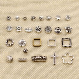 small pendants Australia - 80 Pieces Silver Charm Or Pendants Jewelry Making Perforated Flower Small Hole Beads HJ237