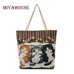 Cute Canvas Handbags Australia - Miyahouse Cute Cats Print Canvas Shoulder Bag Women Large Capacity Embroidery Handbag Female Shopping Bag Summer Beach Bag Lady