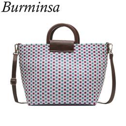 Discount plastic chic - Burminsa Chic Basket Woven Women Handbags Braided Beach Shoulder Messenger Bags Colorful Plastic Tote Shopping Bags Summ