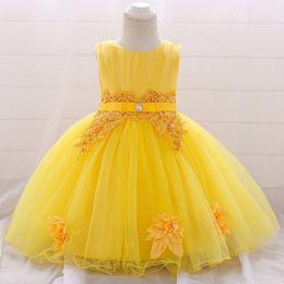 First Birthday Tutu Australia - Girls Newborn Dress Christening Gown First Birthday Party Baby Clothing Beading Tutu Tulle Toddler Girl Clothes Q190518