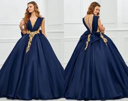 Navy Blue Gold Quinceanera Dress Australia - Fashion Navy Blue with Gold Lac 2019 Quinceanera Prom dresses Ball Gown Jewel Neck Hollow Back Sation Applique Long Cheap Sweet 16 dress