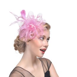 navy fascinator UK - Blush Pink Vintage Bridal Hats Feather Headdress Flower Fascinator Great Gatsby Bridal Headwear For Wedding Party Black Navy White