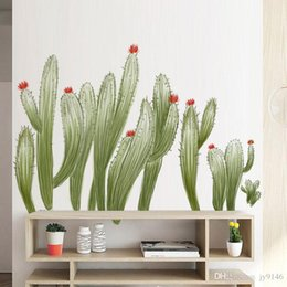 $enCountryForm.capitalKeyWord Australia - Hand-painted Cactus Wall Decals PVC Large Green Plants Wall Sticker Murals for Living Rom Bedroom and Nursery Decor
