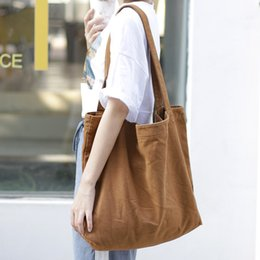 Hand Bag Green Color Australia - contracted large capacity Canvas bag joker Pure light color One shoulder handbag Casual vintage shopping bag women hand