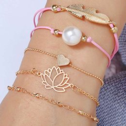 Pearl Jewelry Sets For Girls Australia - lotus flower link chains for women heart beaded gold chain pearl leaf pink rope bracelets gifts for girl luxury 5 pcs bracelet jewelry set