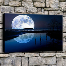 $enCountryForm.capitalKeyWord Australia - Canvas Pictures Home Decor 1 Piece Blue Full Moon Tree Lake Reflection Painting Hallway Print Night In Moonlight Poster Wall Art